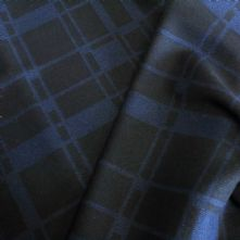 75% OFF Black and Royal Blue Chequered Wool Jacket weight Fabric 150cm Wide